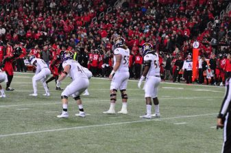 ECU's punt shield gets ready to protect Worth Gregory on a fourth down change of possession.