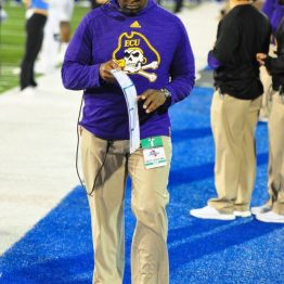 ECU defensive coordinator Kenwick Thompson on the sideline before Saturday's game at Tulsa.