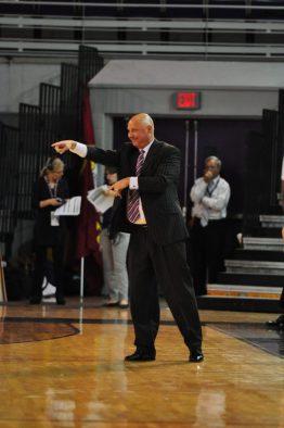 ECU coach Jeff Lebo positions the Pirates against Florida A&M's extended defense. (Al Myatt photo)