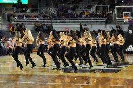 The East Carolina dance team performs during a break. (Al Myatt photo)