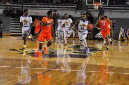 Kentrell Barkley comes away with a FAMU turnover and pushes the ball downcourt. (Al Myatt photo)