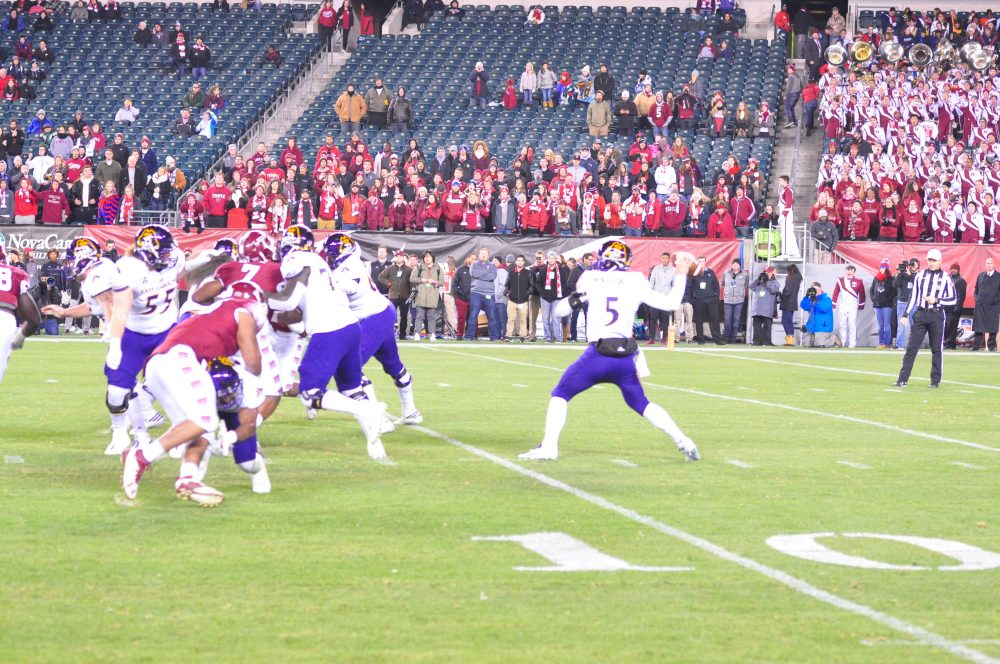 Gardner Minshew delivers a pass in his second start for East Carolina. (Al Myatt photo)
