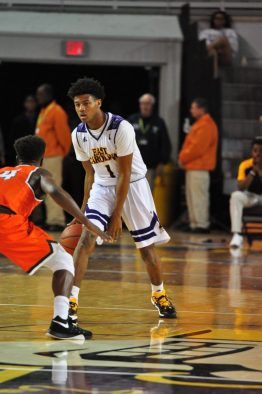 Jeremy Sheppard handles the ball for East Carolina on Tuesday night. (Al Myatt photo)