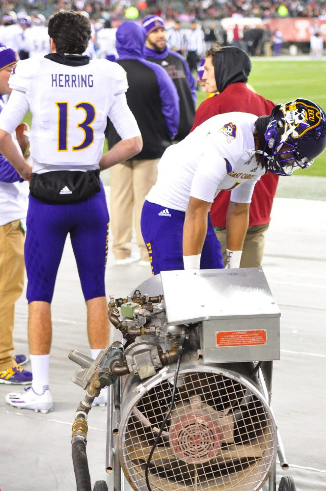 Wide receiver Deondre Farrier makes use of a heater on the ECU sideline. (Al Myatt photo)