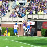 Zay Jones makes a leaping touchdown catch as time expires in the first half. (W.A. Myatt photo)