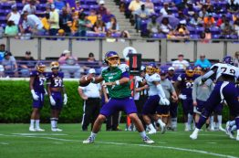 Gardner Minshew fires a pass for the Purple squad in Saturday's scrimmage. The Northwest Mississippi Community College product is East Carolina's projected starting quarterback for the 2017 campaign. (Photo by W.A. Myatt)