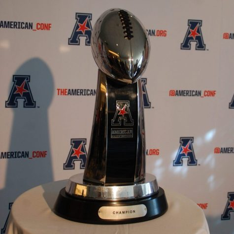 The American Athletic Conference football championship trophy. (Photo by Al Myatt)