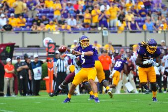 Gardner Minshew got the start against VPI over Thomas Sirk, who had been being evaluated day by day while undergoing a concussion protocol. Montgomery's late-week decision was influenced by a schedule change. (Photo by Bonesville Staff)