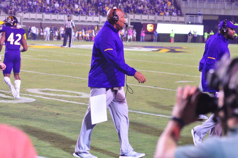 East Carolina defensive coordinator Robert Prunty saw his unit make some strides against BYU. (Photo by Al Myatt)