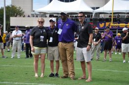 The 2017 ECU hall of fame class was recognized during halftime of Saturday's game. The inductees were (left to right) Meghan McCallion, Rick Kobe, Derrick Ingram and Andrew Bayes. (Photo by Bonesville Staff)