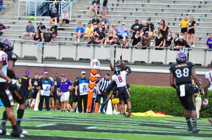 ECU Wide receiver Quay Johnson hauls in the lone Pirate touchdown in a 34-10 AAC loss to Temple. (Photo by Bonesville Staff)