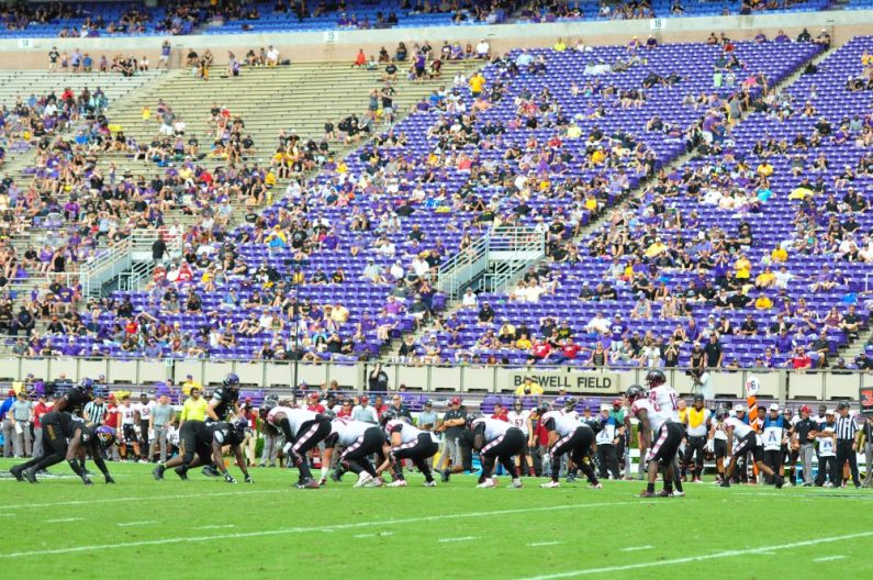 Fall break and afternoon showers contributed to plenty of empty seats in Dowdy-Ficklen Stadium on Saturday afternoon. (Photo by Bonesville Staff)