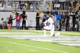 Trevon Brown of East Carolina decides against attempting a kickoff return. (Photo by Al Myatt)