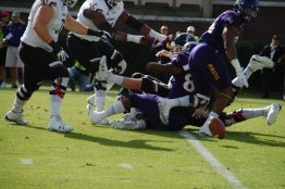 A sack by ECU's Kiante Anderson resulted in a fumble on Cincinnati's first possession.