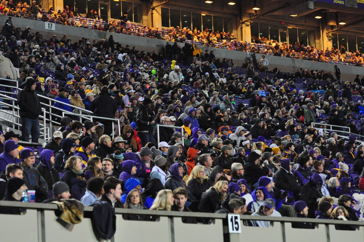 Attendance at Dowdy-Ficklen Stadium on a cold Saturday night was 36,178. (Photo by Al Myatt)