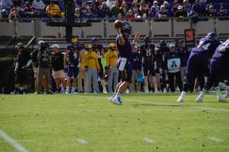 Gardner Minshew goes to the air on a busy afternoon for the Pirates' passing game.