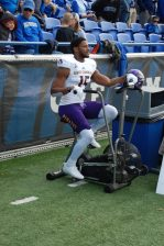 Korrin Wiggins, a former Tiger of the Clemson variety, limbers up before kickoff. (Photo by Al Myatt)