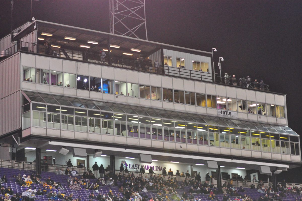 The press box above the south stands of Dowdy-Ficklen Stadium is due to be replaced in an upcoming renovation. (Photo by Al Myatt)