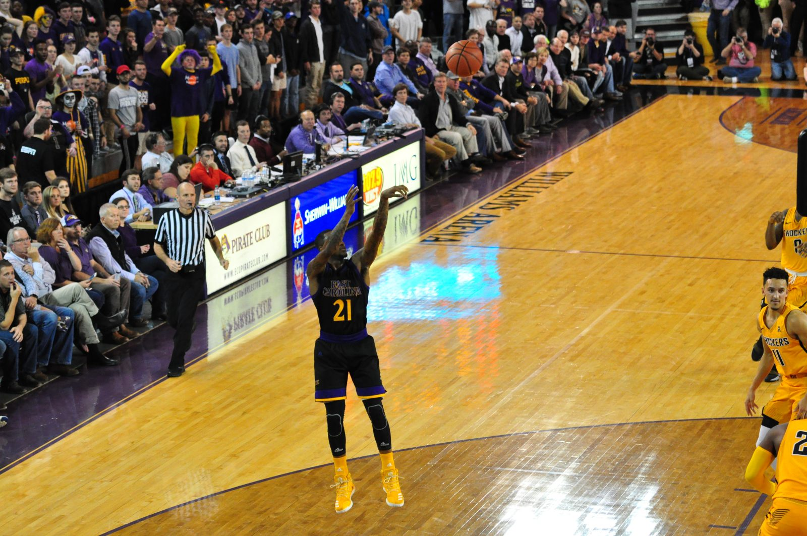 East Carolina fans look on hopefully as B.J. Tyson launches an open jumper against Wichita State.