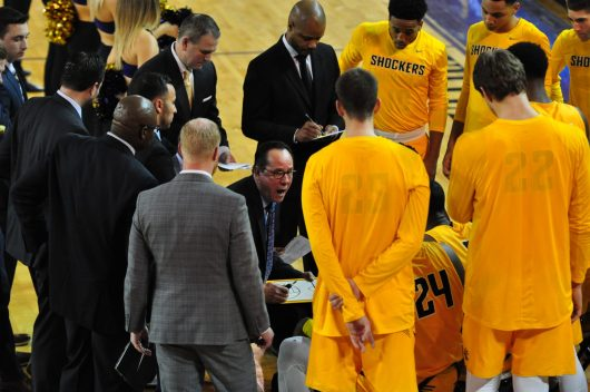 Shockers coach Gregg Marshall adjusts the battle plan with ECU holding an early lead.