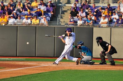 ECU catcher Jake Washer squares up a pitch in the first inning against UNCW. (Photo by W.A. Myatt)