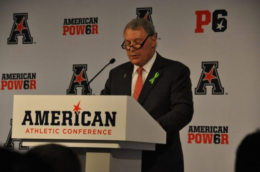 American Athletic Conference commissioner Mike Aresco made the case for inclusion as a Power Six conference. (Photo by Al Myatt)