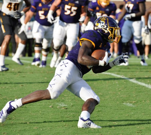 Anthony Scott was ECU's leading rusher with 12 carries for 34 yards. (Photo by Al Myatt)