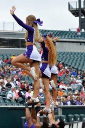 East Carolina cheerleaders look to raise the spirits of ECU fans on Saturday. (Photo by Al Myatt)