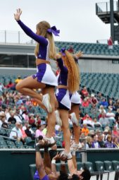 East Carolina cheerleaders look to raise the spirits of ECU fans on Saturday. (Photo by Al Myatt)