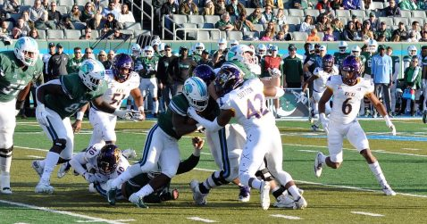 Devon Sutton makes a stop for East Carolina at Tulane. (Photo by Al Myatt)