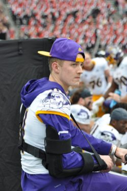 ECU's extensive injury list included receiver Blake Proehl, shown using the stationary bike.