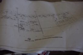Some blue prints related to the under-construction loge level of TowneBank Center (Photo by Brett Friedlander)