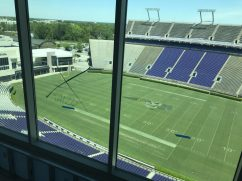 View of Bagwell Field at Dowdy-Ficklen Stadium from the press box level of TowneBanke Tower (Photo by Brett Friedlander)