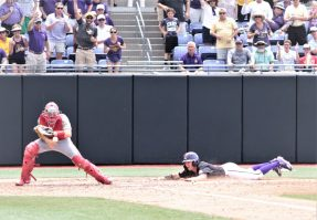 Chandler Jenkins slides head first to the plate for a 5-1 Pirates lead. (Photo/Dunn Area Sports/Paul Burgett)
