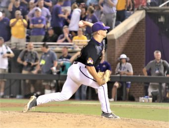 Jake Kuchmaner inspired a capacity crowd with a redemptive pitching performance. (Photo/Dunn Area Sports/Paul Burgett)