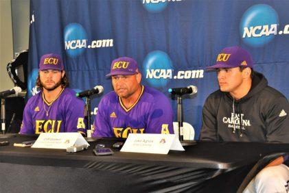 From left are Alec Burleson, coach Cliff Godwin and Jake Agnos at the postgame news conference. (Photo by Al Myatt)
