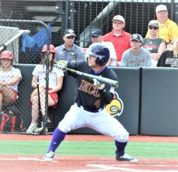 Lane Hoover shows bunt at the plate for the Pirates in the first inning. (Photo by Al Myatt)