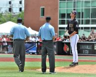 ECU reliever Gavin Williams reacts when the out at home plate in reversed on video review. (Photo by Al Myatt)