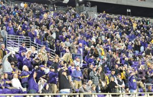 Pirate fans are on their feet after a turnover by the Bearcats (Al Myatt photo)