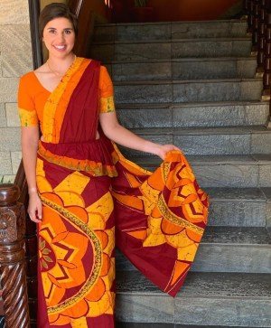 Grace in traditional Sri Lankan dress for the opening ceremonies