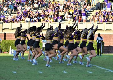 The East Carolina dance team performs during a break in play. (Al Myatt photo)