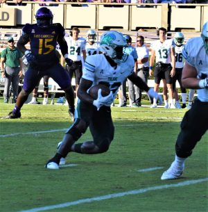 Tulane running back Tyjae Spears looks for an opening. The Green Wave was outrushed 310-124. (Al Myatt photo)
