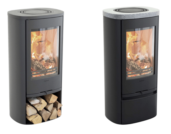 Contura 810 Style wood burning stove with different tops and log storage