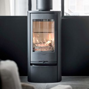 Contura 810 Style wood burning stove in a living room
