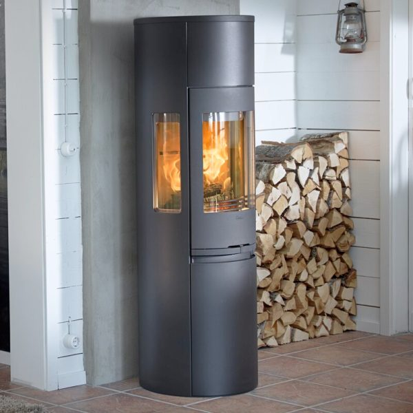 Contura 596 style wood burning stove in black