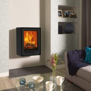 stovax freestanding elise glass 540t rear flue multi fuel burning logs with wall mounting bracket mi