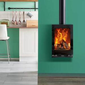 vision midi t woodburning with optional wall mounting bracket and gloss black flue pipe mi