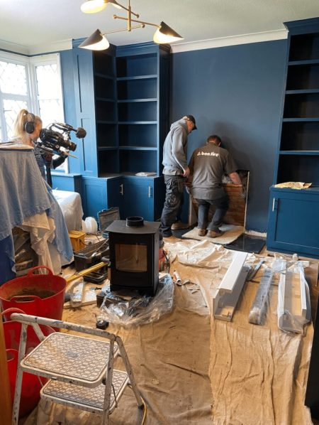 Wood burning stove installation for TV.