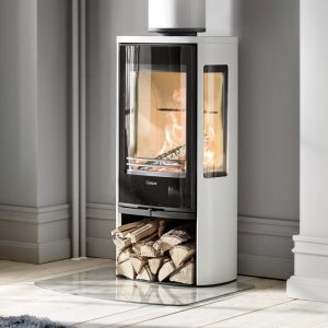 Contura 856G Style wood burning stove with a log storeage stand below