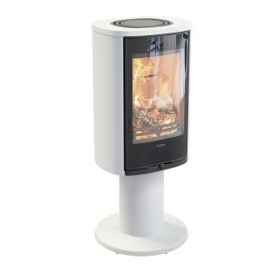 Contura 870G Wood Burning Stove in white with a black front